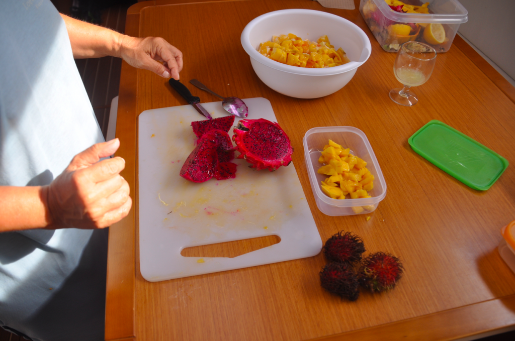 Dragon fruit being prepared